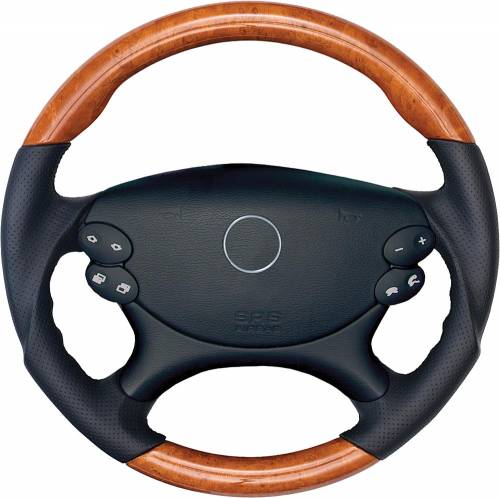 Performance Products® - Mercedes® Steering Wheel, Classic Style, Leather, Burlwood & Dark Pearl, 2007-2009