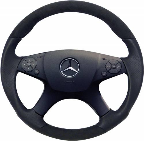 Performance Products® - Mercedes® Steering Wheel, Sports Style, All Leather, Alcantara Cashmere, C300, 2008-20009