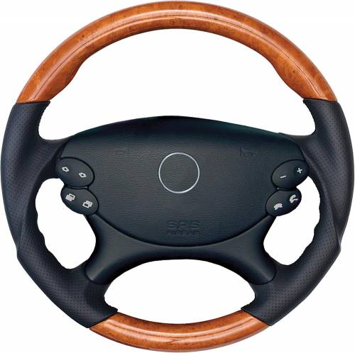 Performance Products® - Mercedes® Steering Wheel, Sports Style, MB Tiptronic, Matt Burlwood & Ash Leather, CLS550, 2007-2008