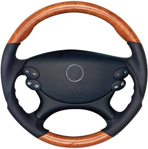 Performance Products® - Mercedes® Steering Wheel, Sports Style, AMG Tiptronic, Birdseye & Black Leather, SL65/SL55, 2003-2006