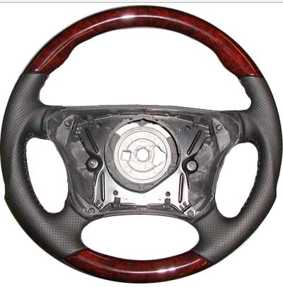 Performance Products® - Mercedes® Steering Wheel, Sports Style, Burlwood & Charcoal Leather, 1999-2003 (208/210)